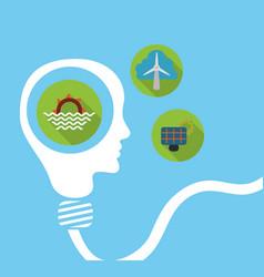 Human head bulb shape energy think environment vector