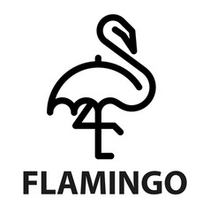 Line icon of flamingo from umbrella vector