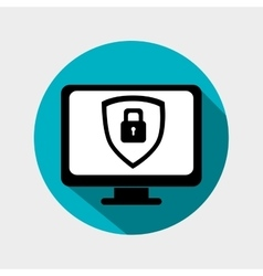 monitor shield security icon grpahic isolated vector image