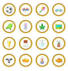 Netherland travel icons circle vector