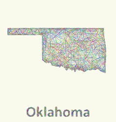 Oklahoma line art map vector