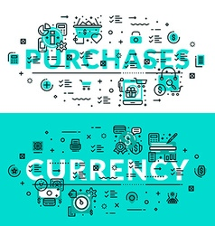 Purchases and currency heading title web banner vector