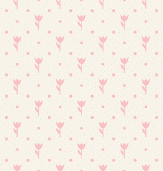 Retro seamless pattern Pink flowers and dots vector image vector image