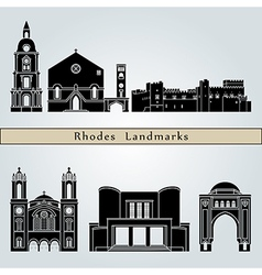 Rhodes landmarks and monuments vector
