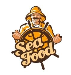 Seafood logo fisherman fisher angler or vector