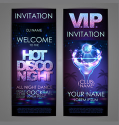 Set of disco background banners hot cocktail vector