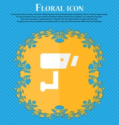 Surveillance Camera Floral flat design on a blue vector image