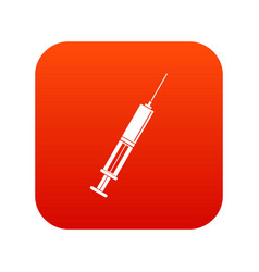 syringe with liquid icon digital red vector image