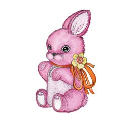 Toy bunny with bow watercolor vector