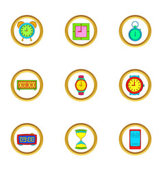 Types of clock icons set cartoon style vector