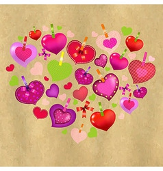 Valentines Day Card With Colorful Hearts And Old vector image vector image