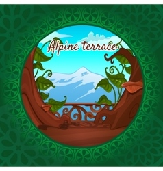 Views of the alps from the terrace green pattern vector