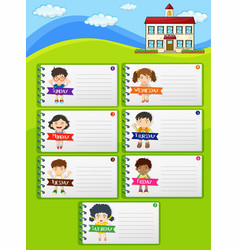Weekly planner notes with kids and school vector