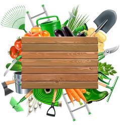 Wooden Board with Garden Accessories vector image