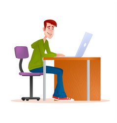 Young man working on computer smiling teenager vector