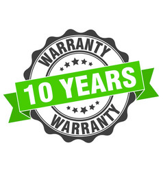 10 years warranty stamp sign seal vector image vector image