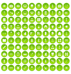 100 pharmacy icons set green vector