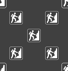 Rock climbing sign seamless pattern on a gray vector