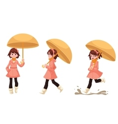 Little girl in a raincoat with umbrella enjoying vector
