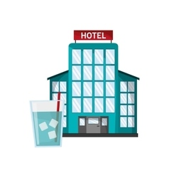 Hotel and glass of water icon vector