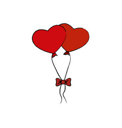 Hearts balloons air icon vector