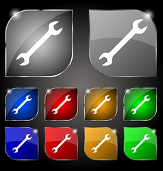 Wrench icon sign set of ten colorful buttons with vector
