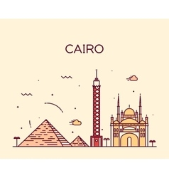 Cairo skyline trendy linear vector