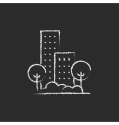 Residential building with trees icon drawn in vector image