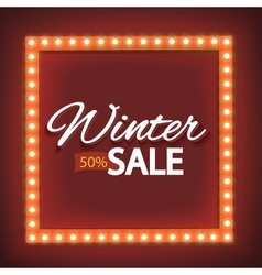 Winter sale with red lights vector