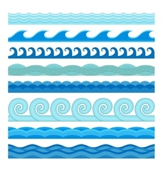 Waves flat style seamless icons collection vector