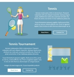 Tennis and tournament web interface page vector
