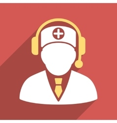 Medical operator flat square icon with long shadow vector
