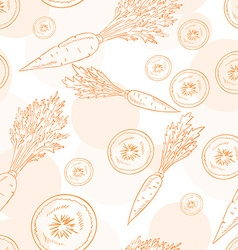 Seamless pattern with carrot and its slice vector