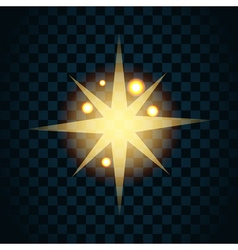 Shine gold star with glitter and golden sparkle vector