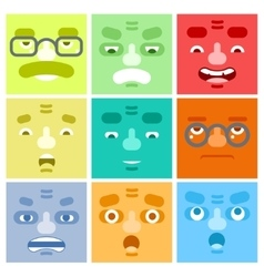 Smiles set avatar emotions happy surprised vector