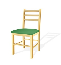 Wooden chair with green seat vector