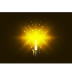 Bright lighting bulb with golden light in the dark vector