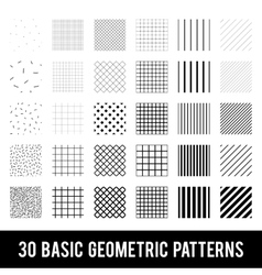 Set of basic geometric patterns memphis style vector