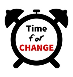 Minimalistic clock with time for change text vector