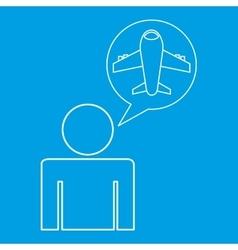 Airport locate destination icon silhouette man vector