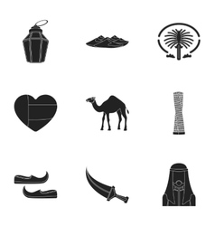 Arab emirates set icons in black style big vector