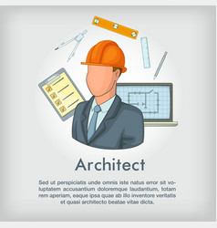 Architect concept tools cartoon style vector