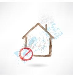 Ban house grunge icon vector