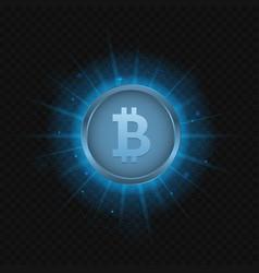 Blue bitcoin symbol vector