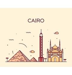 Cairo skyline trendy linear vector
