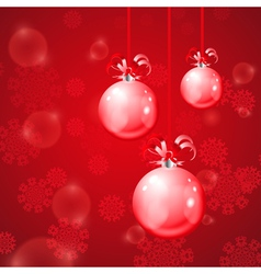 Christmas balls on red background with snowflakes vector image