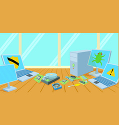 Computers repair horizontal banner cartoon style vector