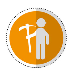 construction worker with pick avatar vector image vector image