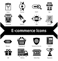 E-commerce Icons Black vector image