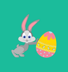 easter rabbit and egg vector image vector image